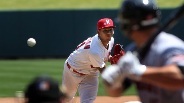 May 17, 2016 - Redbirds starting pitcher faces a Sacramento batter during a daytime game at AutoZone Park. Sacramento won 10-3. (Stan Carroll/The Commercial Appeal)