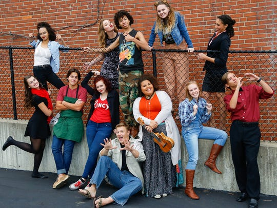 """The cast of Anderson Theatre's production of """"Godspell."""""""