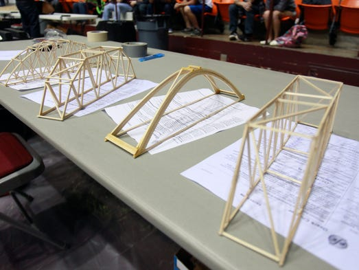 Bridges of all different types were competing to see which one could hold the most weight in the Ozark Chapter of the Missouri Society of Professional Engineers' 25th annual Model Bridge Contest at Hammons Student Center on Wednesday, April 2, 2014.