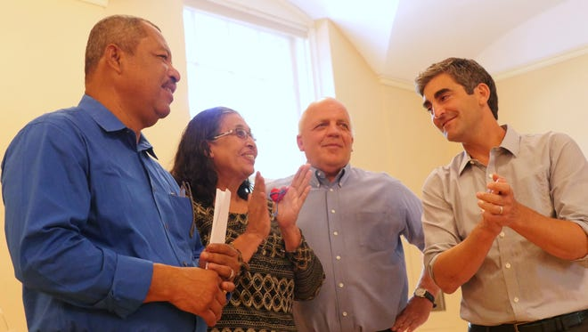 From left to right: Puerto Cabezas Mayor Reynaldo Francis, Vice-Mayor Anicia Matamoros, former Burlington Mayor Peter Clavelle and Mayor Miro Weinberger. The Burlington mayors welcomed their counterparts from Puerto Cabezas this week.