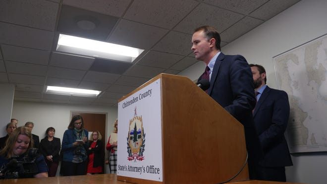 T.J. Donovan, Chittenden County state's attorney speaks to reporters at a press conference.