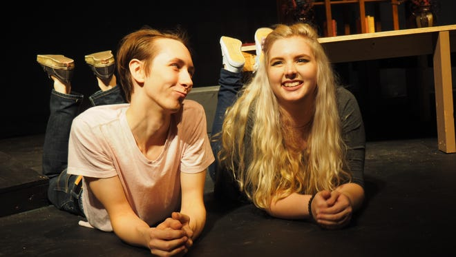 """Young Peter, played by Jon Todd, enjoys a day with childhood friend Margaret, played by Kylee Brabant, during a childhood flashback scene in """"Leviathan,"""" a show produced at UW-Fond du Lac."""