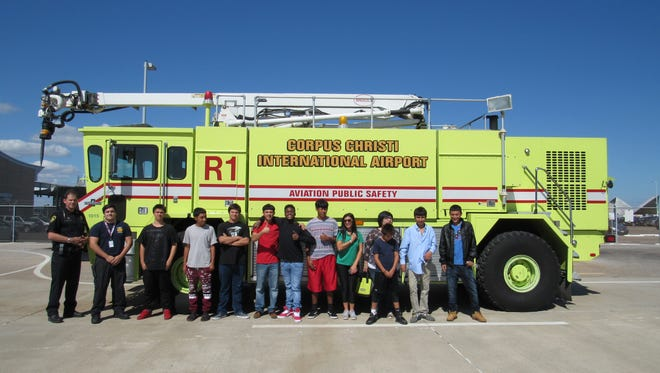 HELP students visit the Airport Fire Department stationed at Corpus Christi International Airport.