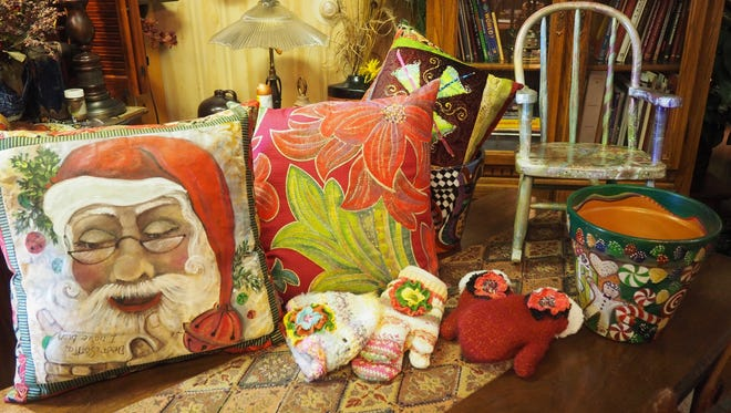 A collection of Pat Strong's hand-painted items.