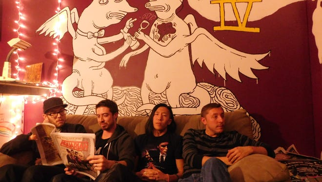 """Central Jersey-based punk-rock band The Turnbucklers released their sophomore LP, """"Tood Bad for Us,"""" on Nov. 11, 2016. From left at Volume IV studio in New Brunswick are Ron DeLux, Ponyboy Kane, Freddy Unreal and Joshua Whyy."""