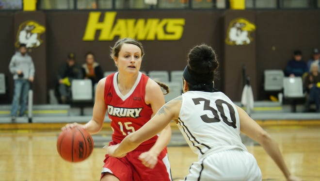 Drury guard Heather Harman in Saturday's game against Quincy.