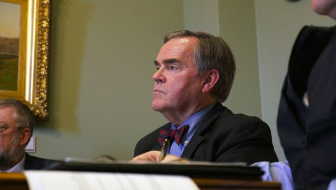 Vermont's Department of Motor Vehicles Commissioner Robert Ide testifies before the state's Senate Government Operations Committee on Tuesday, April 11, 2017.