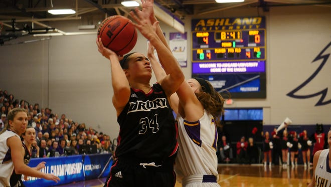 Drury sophomore Hailey Diestelkamp works on putting up a shot during Monday's NCAA-II Midwest Regional championship  game in Ashland, Ohio.