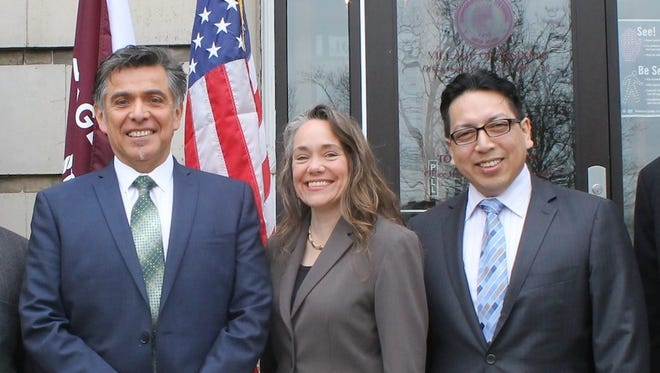 From left: Then Ossining Village Manager Abraham Zambrano, Mayor Victoria Gearity and Trustee Manuel Quezada last year.