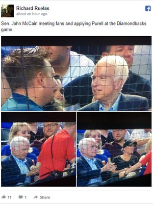 A Facebook post the Arizona Republic's Richard Ruelas shows Sen. John McCain's meeting fans and applying Purell on his hands at a Diamondback game on Aug. 10, 2017.