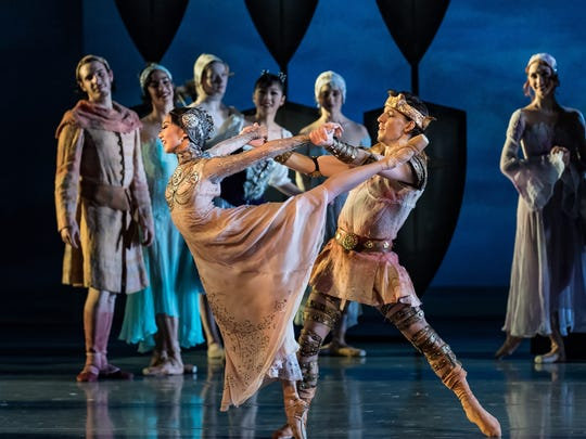 "Chisako Oga and Cervilio Miguel Amador dance the leading roles of Guinevere and Arthur in Cincinnati Ballet's production of ""King Arthur's Camelot,"" being performed Feb. 11-12 at the Aronoff Center."