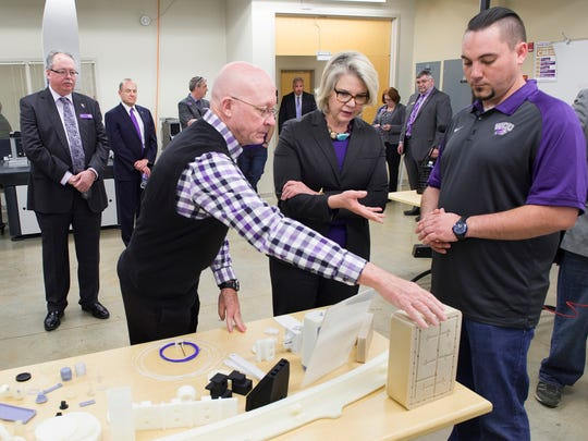 University of North Carolina system President Margaret Spellings visits the Center for Rapid Product Realization on the campus of Western Carolina University.