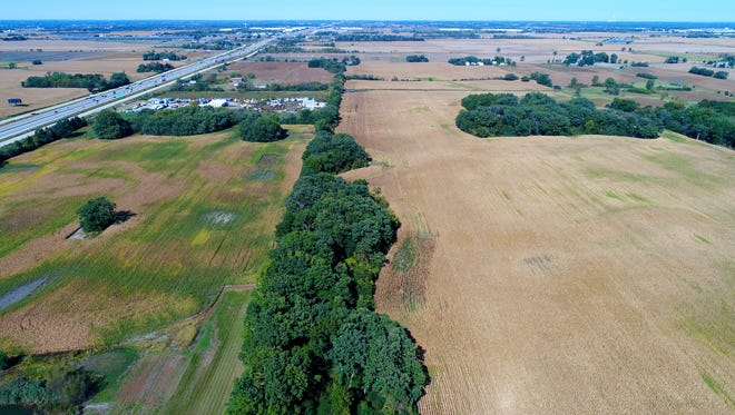 An area of land east of I-94 (left) and north of Racine County Highway KR in Mount Pleasant will be the location of the massive Foxconn factory that someday could employ thousands.
