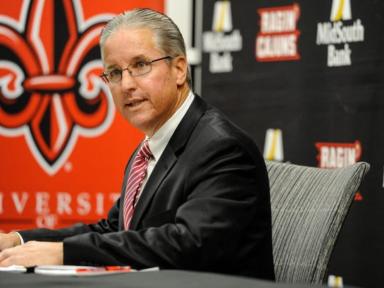 UL athletic director Scott Farmer, shown earlier this year, addressed conference realignment questions last week.