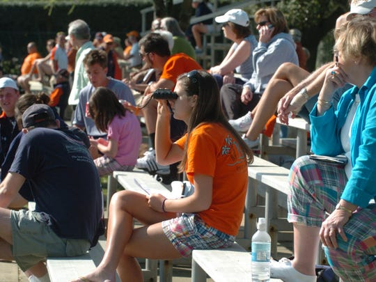 Tennis fans watching players in the 2009 Blue Gray Tennis Classic at Lagoon Park in Montgomery, Ala. on Thursday, March 19, 2009. (Montgomery Advertiser, Lloyd Gallman)