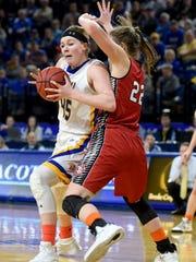 SDSU's Ellie Thompson goes toward the basket while