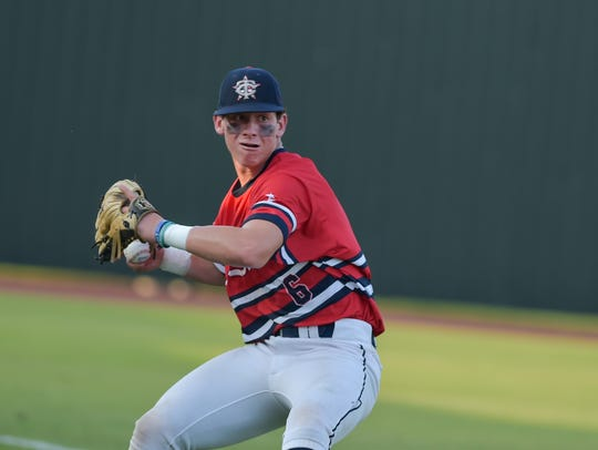 Kade Sonnier turns to throw out a runner as Teurlings
