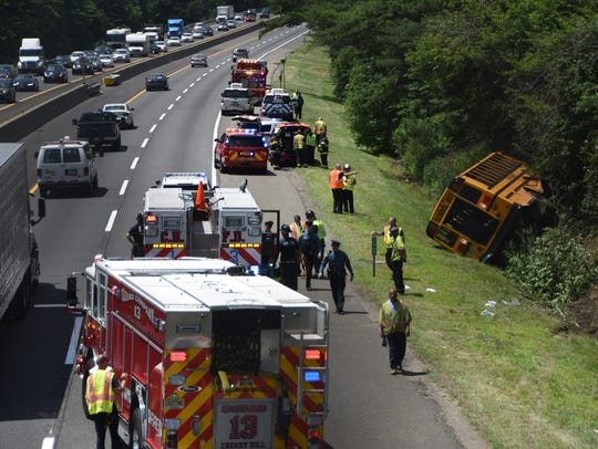 A school bus ran off the New Jersey Turnpike just south of Haddonfield-Berlin Road in Cherry Hill on Friday. There are no reports of serious injuries or fatalities.