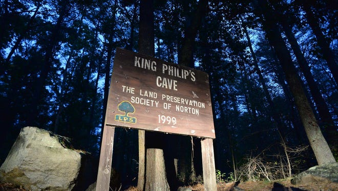 King Philip's Cave sign in Norton on Tuesday, Oct. 20, 2020.
