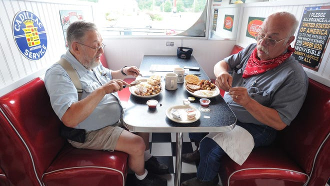From left, Gerry Scampoli and Chuck Scampoli, having breakfast at Dave's Diner, 390 West Grove Street, Middleboro , on Tuesday, June 23, 2020, reopened for indoor dining.   Marc Vasconcellos/The Enterprise)