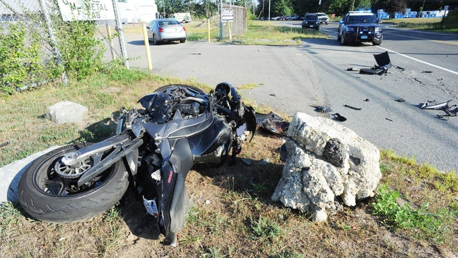 A Nissan Maxima sedan collided with a Kawasaki Ninja 1000 motorcycle on Oak Hill Way in Brockton, Tuesday, Aug. 11, 2020, injuring the 39-year-old Plymouth man driving the motorcycle.