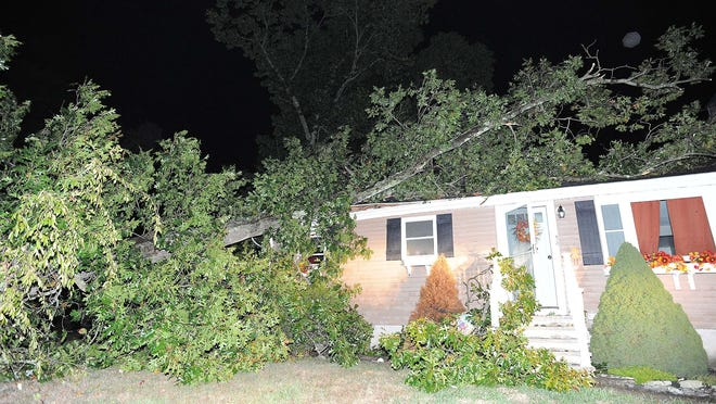 A tree went through the roof of this home at 30 Loring Ave. in Whitman on Wednesday, Oct. 7, 2020.