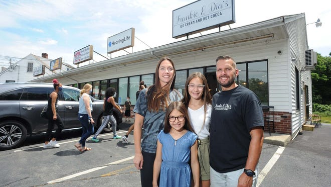 Frankie & Dia's Ice Cream and Hot Cocoa, 407 New State Highway, Raynham, owners Chris Fernandes, Becky Fernandes, Frankie Fernandes, 11, Dia Fernandes, 8, on Thursday, June 25, 2020.