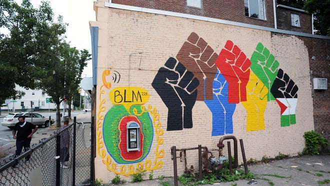 A Black Lives Matter mural painted on the wall of Champion Ice Cream on Legion Parkway in Brockton, on Friday, July 2, 2020.