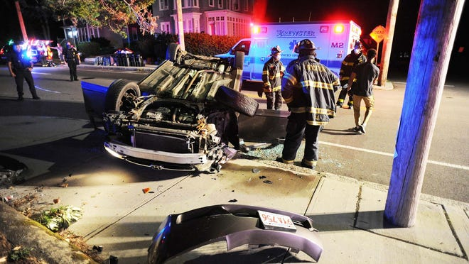 A female driver and a male passenger were injured in a single-vehicle rollover crash at 250 West Elm St. in Brockton, Wednesday, Aug. 5, 2020.