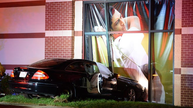 A Mercedes sedan struck the new Dick's Sporting Goods store at closing time on Westgate Drive in Brockton, Monday, Aug. 31, 2020.