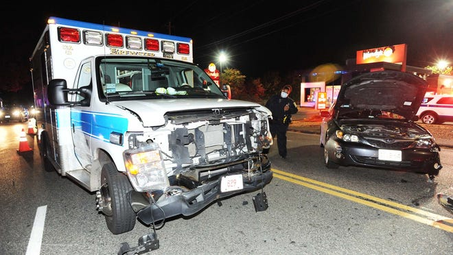 Several people were injured when a Subaru Impreza collided with a Brewster ambulance near 660 Oak St. in Brockton, Sunday, Oct. 25, 2020.