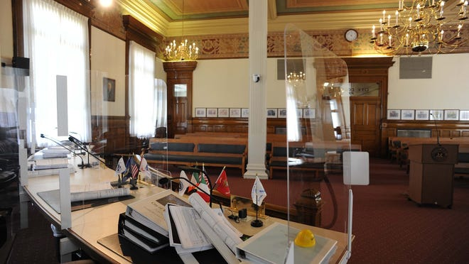 Plexiglass has been added to the Council Chambers inside Brockton City Hall on Tuesday, June 23, 2020.
