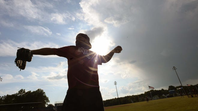 Manager Mike Nicholson, throws batting practice as Rockland  Legion baseball is returning with independent leagues at the high school stadium on Friday, June 26, 2020.