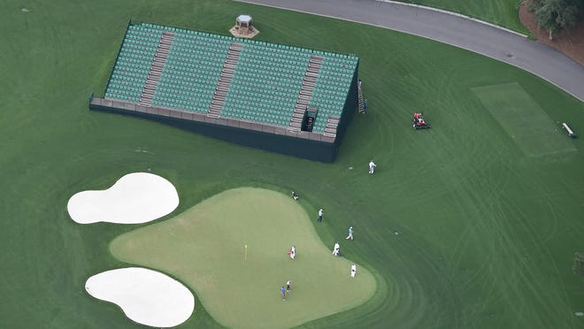 Aerial view of No. 17 green at Augusta National Golf Club.