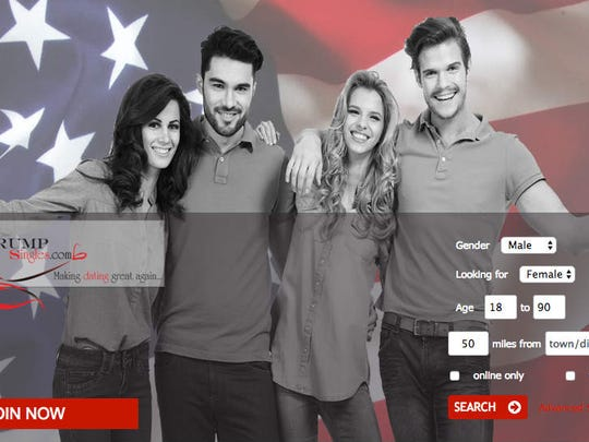 A screenshot of the TrumpSingles.com dating website.
