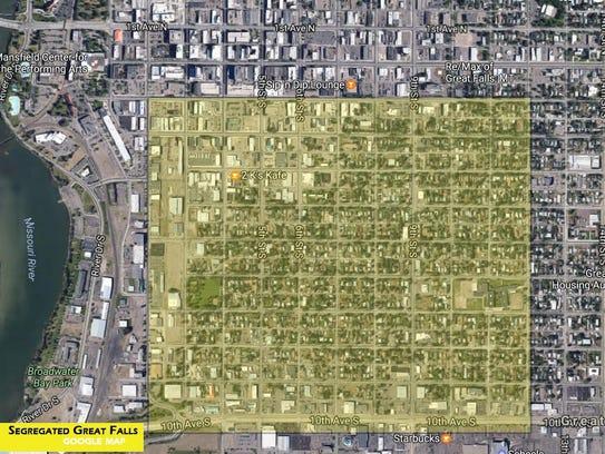 The yellow section represents the section of town where