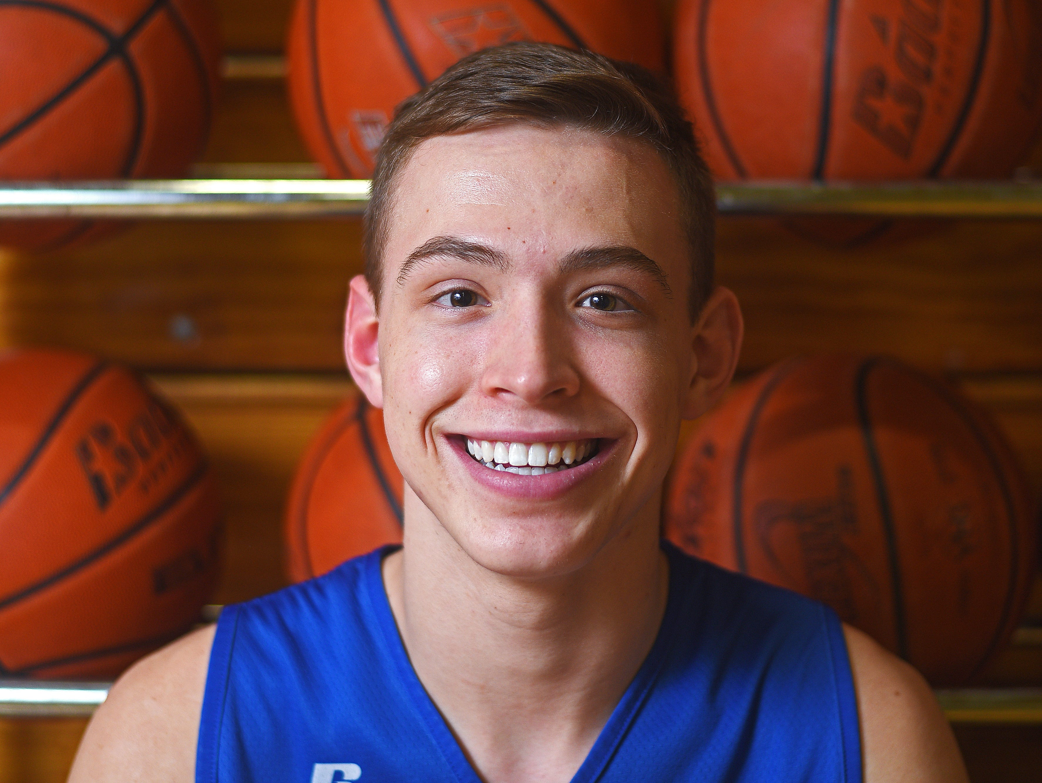 O'Gorman's Matt Cartwright poses for a portrait during practice Tuesday, Feb. 14, 2017, at O'Gorman High School in Sioux Falls.