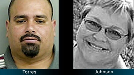 Victor M. Torres, 35, at left, is charged one count of homicide by vehicle, a Class 3 felony. Lori Johnson, a 55-year-old teacher at Mesa Middle School, at right, was killed on April 20 in a three-vehicle crash on East Second Street just outside city limits.