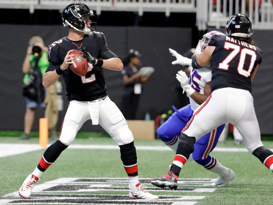 Atlanta Falcons quarterback Matt Ryan (2) works in