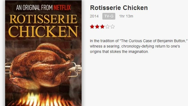 A screenshot of the Netflix movie Rotisserie Chicken posted by the streaming media service on April Fool's Day.