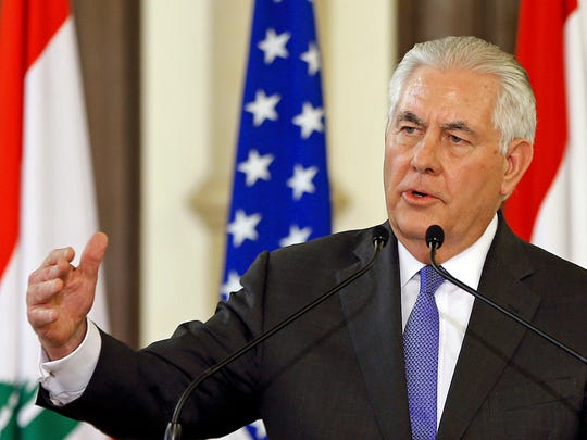 U.S. Secretary of State Rex Tillerson, speaks during a press conference with Lebanese Prime Minister Saad Hariri, at the Government House, in downtown Beirut, Lebanon, Thursday, Feb. 15, 2018. Tillerson is urging Hezbollah to cease its activities abroad to help reduce tensions in the region. (AP Photo/Bilal Hussein)