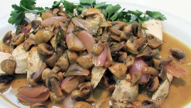 Pan Roasted Chicken with Mushrooms & Rosemary