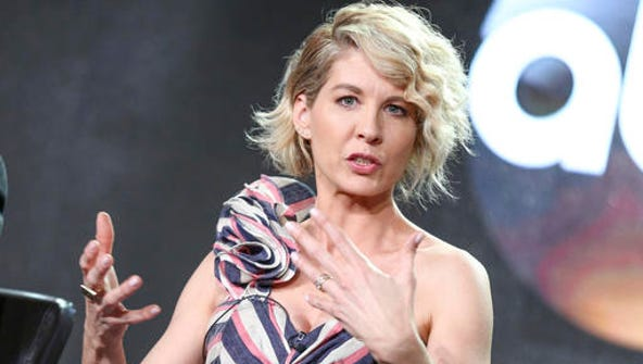 """Jenna Elfman speaks at the """"Imaginary Mary"""" panel at"""