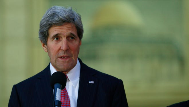 Secretary of State John Kerry speaks to the media after his meeting with Palestinian President Mahmoud Abbas in the West Bank city of Ramallah on Jan. 4.