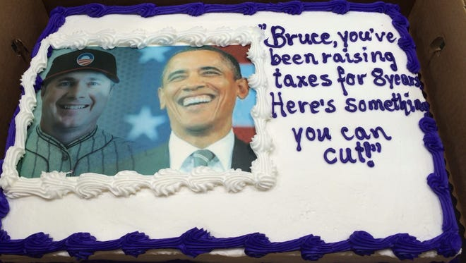 Iowa Republicans had this cake made for U.S. Senate hopeful Bruce Braley's 57th birthday today, Oct. 30, 2014.