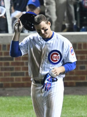 Anthony Rizzo reacts after striking out in the sixth inning.