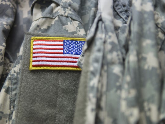 A U.S. military patch with the American flag displayed