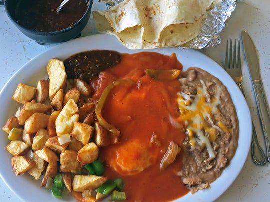 Ranchero Eggs with potatoes, beans, and flour tortillas