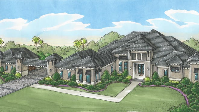 An artist's conception of Florida Lifestyle Homes model, the St. Martin II, the prototype of the home being built in the Pine Ridge section of Naples.