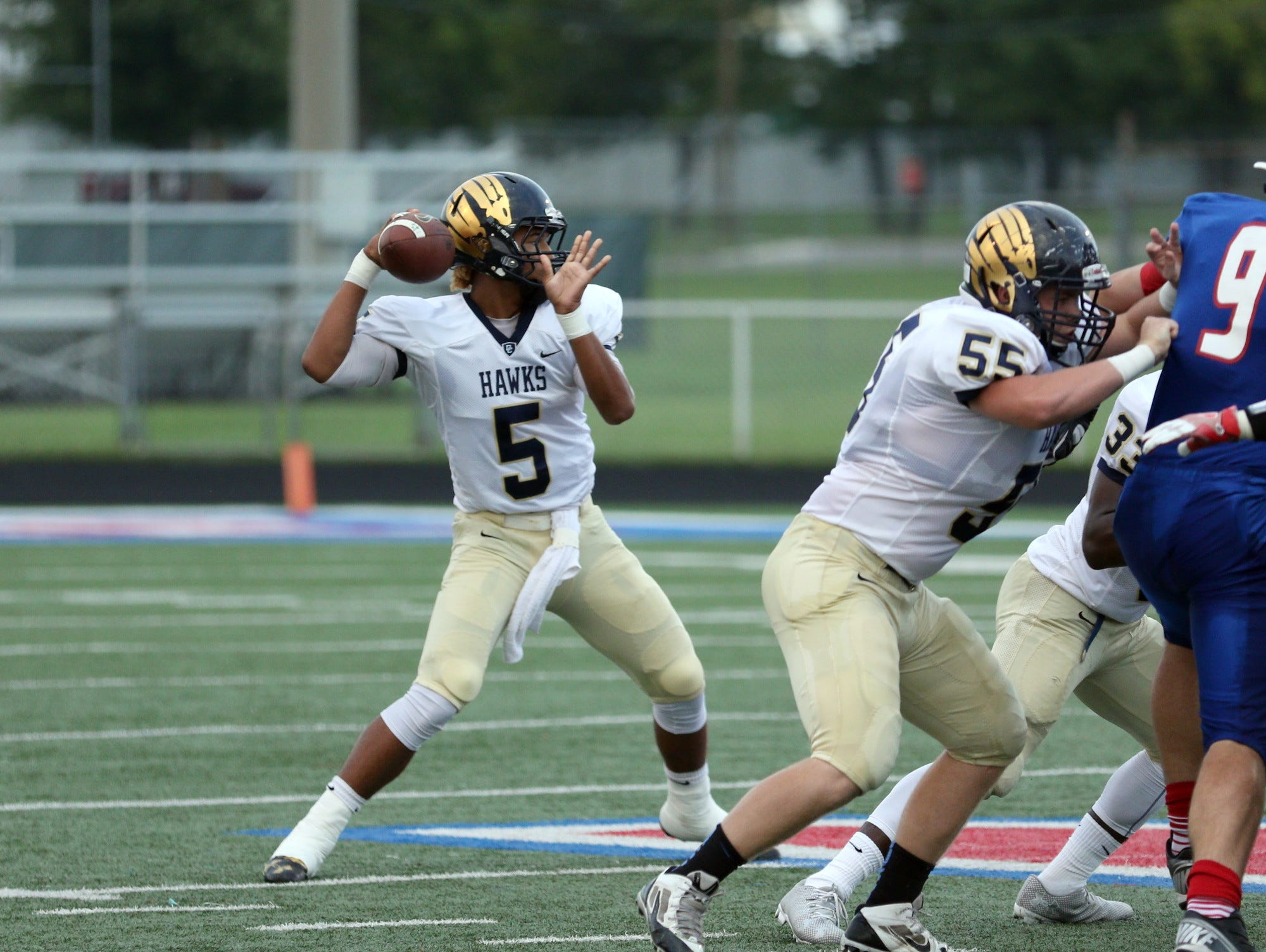 Decatur Central quarterback Bryce Jefferson totaled five touchdowns in the Hawks' win Friday night.